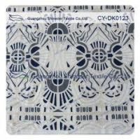 Quality White And Black Big Geometric Cotton Polyester Lace Fabric , 1.45 - 1.5m for sale