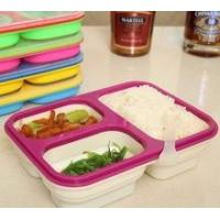 Quality Food grade Microwave Safe 3 Compartment Folding Silicone Lunch Box for sale