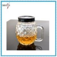 Quality Round Pineapple Shaped Glass Clear Bottle WIth Plastic Lid Mason Jar for sale
