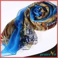 Quality Bule Tribal Style Chiffon Printed Wholesale Shawl for sale