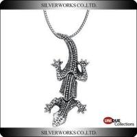Cool Antique 925 Sterling Silver Movable Crocodile Necklace Pendant