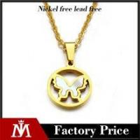 Shell charm jewelry stainless steel butterfly necklace for women