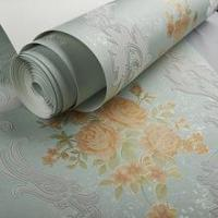 Quality Arabesque velvet flock wallpaper,faux leather wall covering for sale