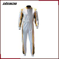 Buy cheap Auto Racing Suit (77) Two layer 100% cottom one piece auto racing suit white golden green C070 from wholesalers
