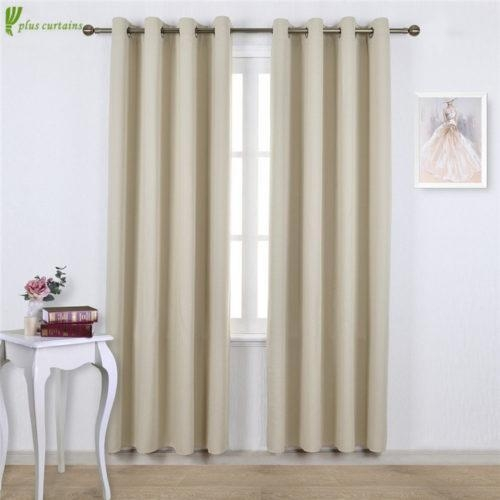 Buy Beige Grommet Blackout Window Treatment Curtains at wholesale prices