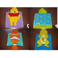 Quality 100% Cotton velour reactive printed hooded towel poncho for sale