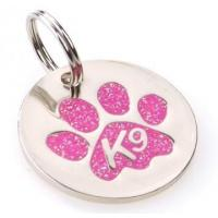 Quality K9 Paw Glitter Pink Identity Tag for sale