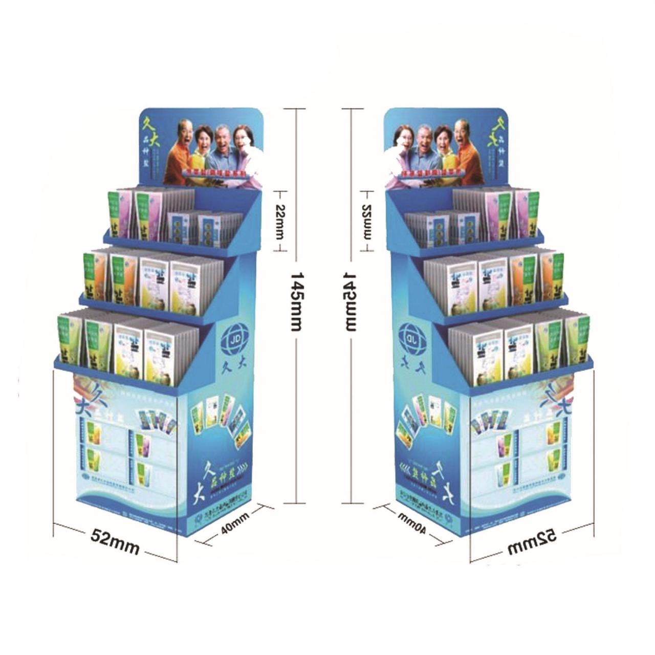 Quality Carton material various trays floor freestanding cardboard LCD CD display shelf for sale