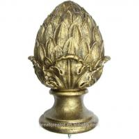 China Decor Antique White Artichoke Resin Curtain Rod Finials on sale