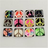 China Peace Sign Photo Glass Square Cabochons, Mixed Color, 10x10x...(X-GGLA-S022-10mm-03) on sale