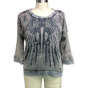 Quality Ladies' pullovers made of cotton waffle, garment dirtry dyed, dirty washed, cold pigment dyed for sale