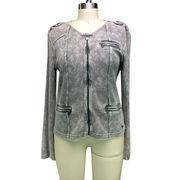 Quality Ladies' casual jackets with 100% cotton waffle fabric, garment snow wash finished for sale