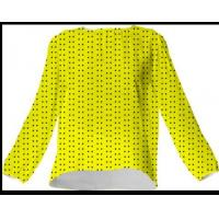 Quality Suga Lane Yellow Black Polka Dot Silk Blouse for sale
