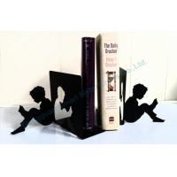 Quality Reading boy metal bookends Black ART bookends for sale