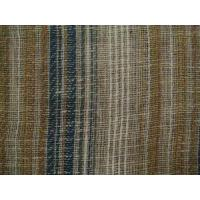 Quality Clearance Fabric Mocha Teal Open Weave Striped Casement for sale