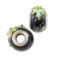 Quality Large Hole Lampwork Glass Bead 10x15mm Black with Green Turtle and Tan Dots (1-Pc) LG418 for sale