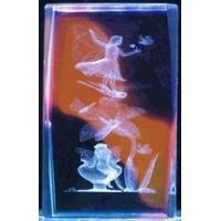 """Quality 3"""" 3D Laser Crystal Cube, Fairy on dragonfly w/ Color Background for sale"""