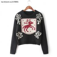 F1-8732(A3-1-2G)Deer pattern long-sleeved pullover