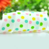 China 100 yards 1 inch swiss dots printed ribbon on sale