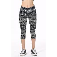 Quality Black And White Tribal Geometrical Line Symbols Printed Slim Elastic Casual Capri Leggings for sale