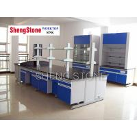 Quality H-Frame steel wood lab central bench-Epoxy resin worktop for sale