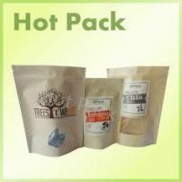 Organic Kraft Paper Stand Up Pouches With Zipper And Window For Snack / Chia Seed