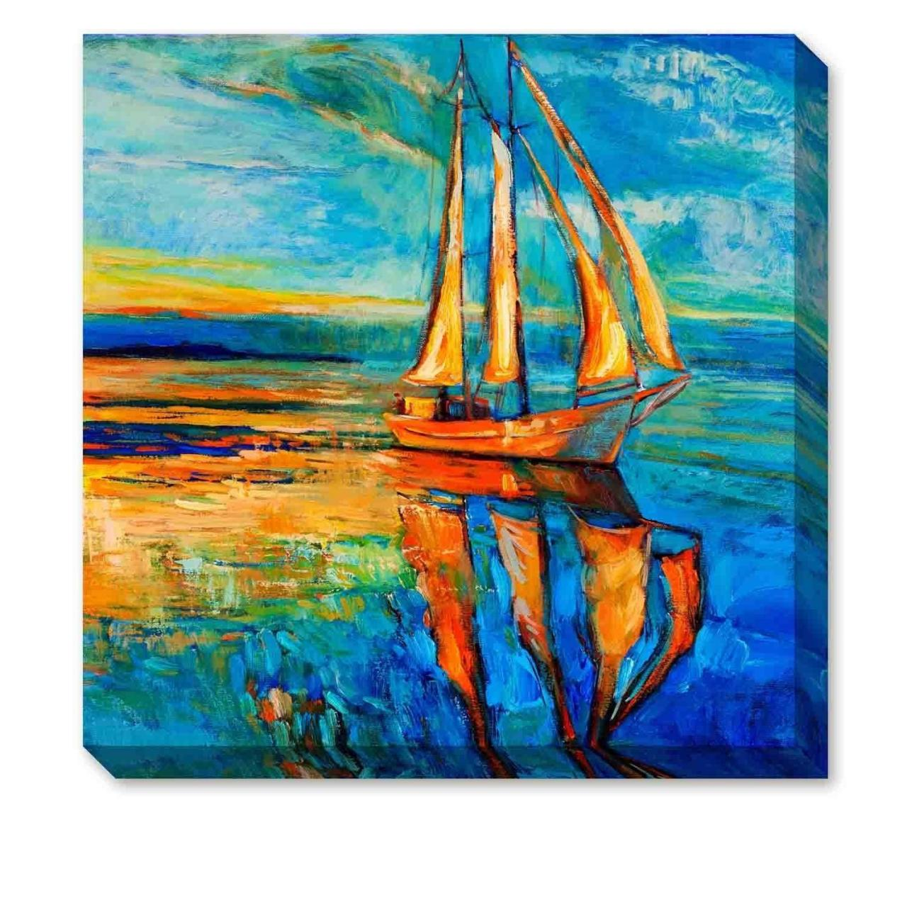 Quality ArtKisser Hand Painted Wall Art Blue Sailboat Painting Print for sale