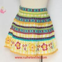 Quality Fashion Knee Length Poplin Skirts with Flower Ribbons and Embroidery for Women for sale