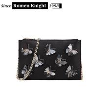 Quality 2017 factory designer butterflies decorative leather shoulder bag with chain for sale
