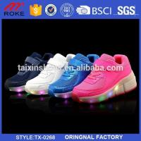 China Kid Retractable Wheel Roller Skate Shoes Youth Boys Girls LED Light Up Shoes on sale