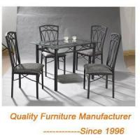 Buy cheap Hot Sale Modern Metal Dining Table And Chairs with glass top from Wholesalers
