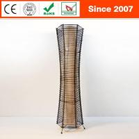 Quality Handcrafted Black Rattan Wicker Fabric Shade Fishbone Floor Lamp for sale