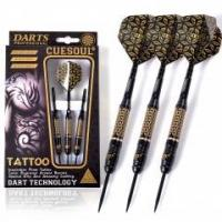 CUESOUL TATTOO Series 23g Black Coated Brass Steel Tip Darts,with Unique Pattern Engraved