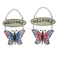 Quality Metal Butterfly Welcome Hanging Door Sign for sale