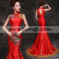 Quality Floral embroidered Asian inspired mandarin collar red mermaid wedding dress for sale