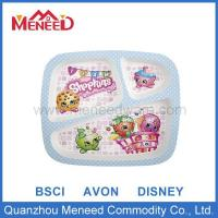 China Children Dinnerware 3 sectional cartoon design children melamine rectangular divided plate on sale