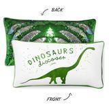 China DISCOVERY Dinosaur Pillow w/ Reversible Green & Silver Sequins on sale