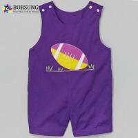 Quality Purple Cotton Rugby Applique Baby Romper Boys Short John John for sale