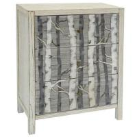 Buy cheap White Mountain Metal Birch Tree 3 Drawer White and Grey Wood Chest 28.25x15.5x33.25 from Wholesalers