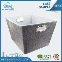 Quality Large Grey Canvas Style Non Woven Fabric Storage Bin for sale