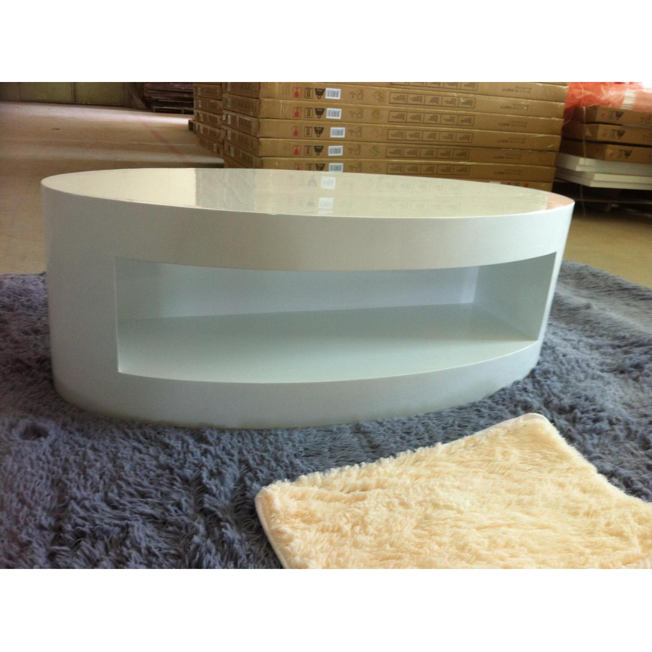 China 2017 new desigh modern OVAL white glossy coffee table with storage DIS-1024 on sale