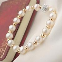 Quality 7-8mm round pearls with gold beads bracelet for sale