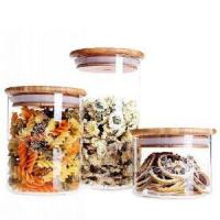 Buy cheap Round Shape Glass Food Storage Jar Set with Airtight Bamboo Lid from Wholesalers