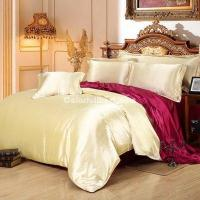 Quality Camel And Wine Silk Bedding Set Duvet Cover Silk Pillowcase Silk Sheet Luxury Bedding for sale