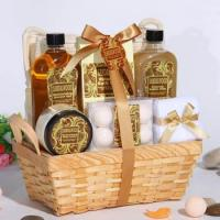 Quality Bath and Body Products with Sandalwood Scent in Bamboo Basket(Item No.:RM13SL345) for sale