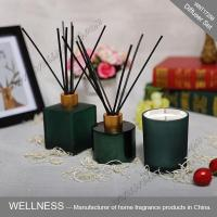 Green reed diffuser and scented candle with rattan stickers-WNT17258
