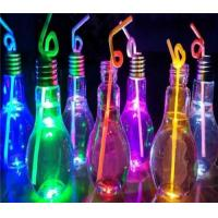 Quality LS-D006 Color Changing Light Bulb Shape Glass Bottle for Drinking Juice with straw for sale