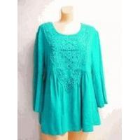 Simply Noelle shirt Turquoise 3/4 Bell Sleeve Top crochet trim Small medium