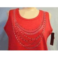 Quality Christine Alexander red tank top shirt silver & red crystal necklace S to L for sale