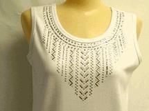 Buy Christine Alexander white tank shirt baguette & silver stud size S, M, & 3x at wholesale prices